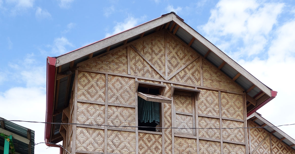 Thatch home with open window