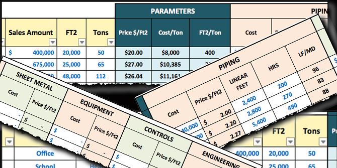HVAC Historical Database. Track HVAC Parameters like cost per ton ($/Ton), Cost per square foot ($/Ft2), Piping, Sheet Metal, Etc ..