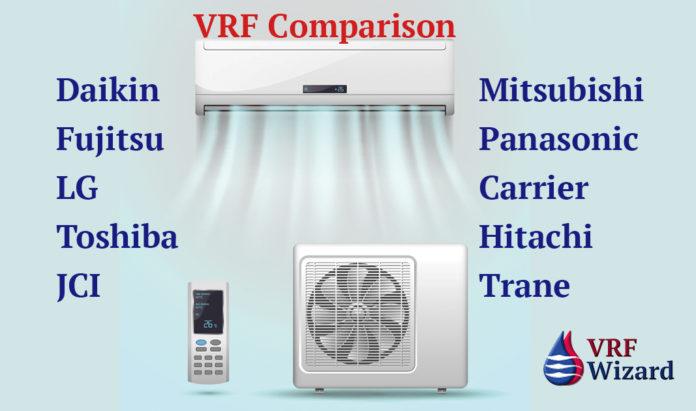 VRF Manufacture Comparison, Daikin, Mitsubishi, LG, Toshiba, Carrier, Trane, Fujitsu, Panasonic, Hitachi