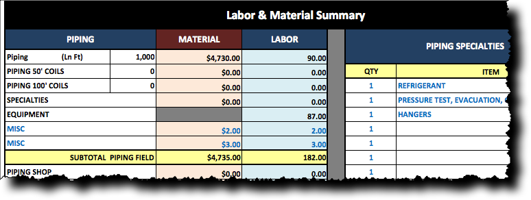 VRF Piping Material and Labor Estimating Spreadsheet