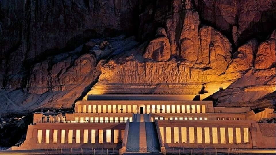 The Mortuary Temple at night in Luxor Egypt