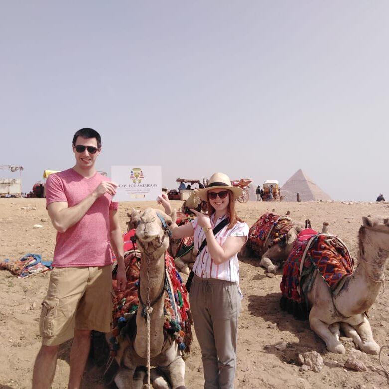 Simon Family camel ride at the pyramids Egypt