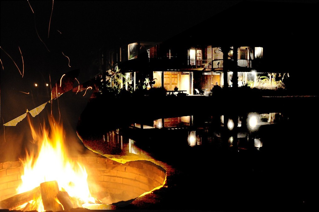 A firepit lights the night on Eagle Island © 2015 Karen Rubin/news-photos-features.com