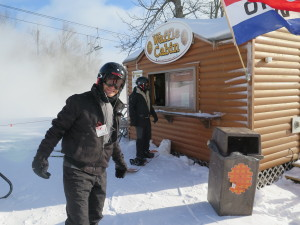 Stopping off for some sustenance at the Waffle Cabin on the trail at Okemo © 2016 Karen Rubin/news-photos-features.com