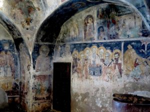 Magnificent frescoes inside St. Naum church date back 500 years © 2016 Karen Rubin/goingplacesfarandnear.com