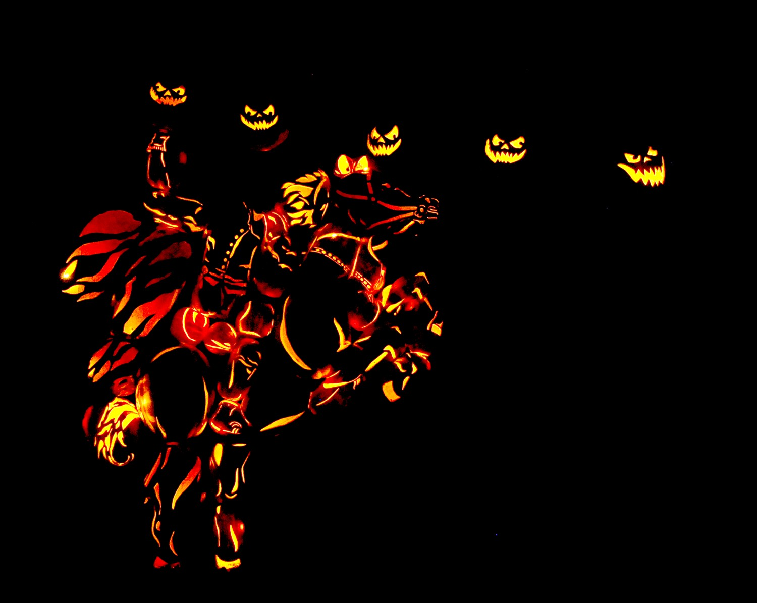The Headless Horseman, in lighted jack o'lanterns, at Blaze © 2016 Karen Rubin/goingplacesfarandnear.com