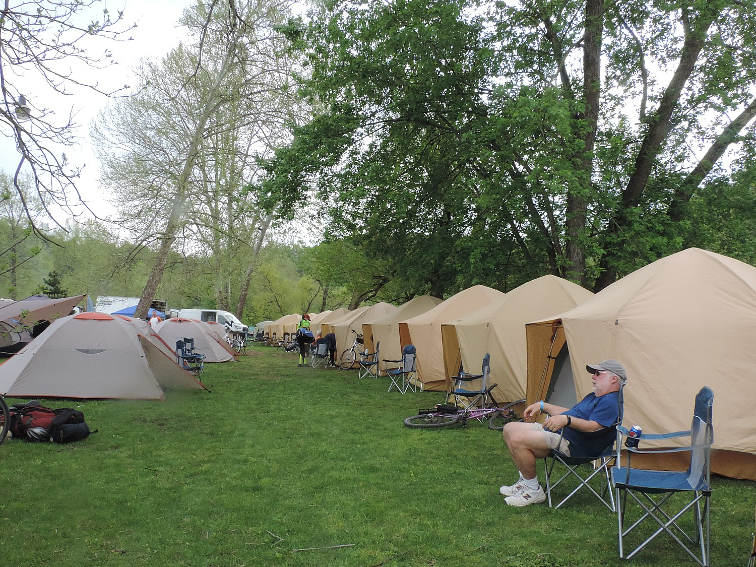 The end of our 33-mile ride on Day 2 of Rails-to-Trails Conservancy's Spring Sojourn on the Great Allegheny Passage takes us to the ROA camping resort in Adelaide, where Comfy Campers has already set up tents © 2016 Karen Rubin/goingplacesfarandnear.com