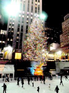 Skating beneath the famous Christmas Tree at Rockefeller Center City © 2016 Karen Rubin/goingplacesfarandnear.com