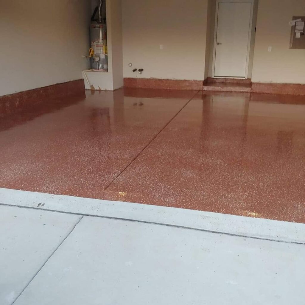 Epoxy random flake garage floor