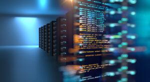 server room 3d illustration with node base programming data des
