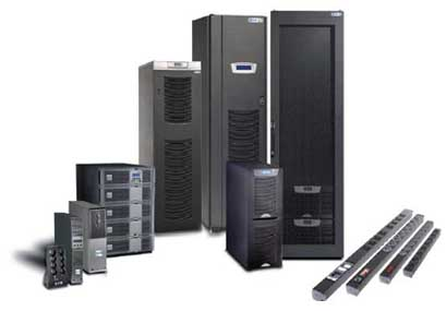 Image of cabinets, computers, and UPS power supply supplies standing up
