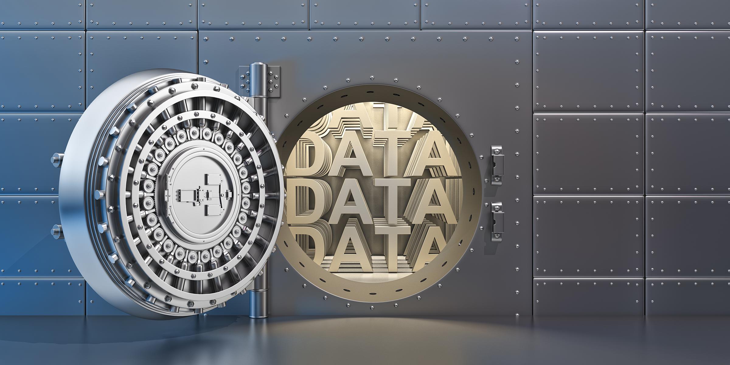 """Open vaulted steel door with """"DATA"""" inside the vault"""
