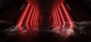 Orange Red Glowing Pylons Cement Concrete Hallway Tunnel Corridor Dark Underground Garage Gallery Stage Sci Fi Futuristic Modern Background 3D Rendering Illustration