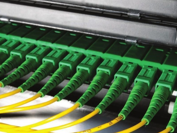depiction of green network cables lined up in row in network environment