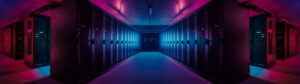 Footer of purple and magenta illuminated data center with server cabinets lining up in rows. Blue lights in middle contrast with the purple.