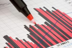 Bar graph with alternating red and black bars. Blue line cuts through graph as a projection. Red marker pointing to graph.