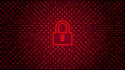 red digital lock keeping a network or device safe