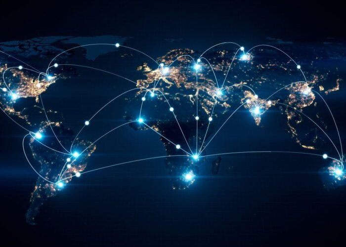 Depiction of global worldwide network connecting to various cities, nations, and more around the world through enhanced network connectivity.