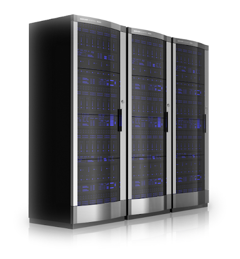 three server cabinets lined up next to each other