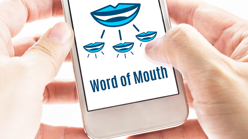 "Mobile phone with ""Word of Mouth"" image"