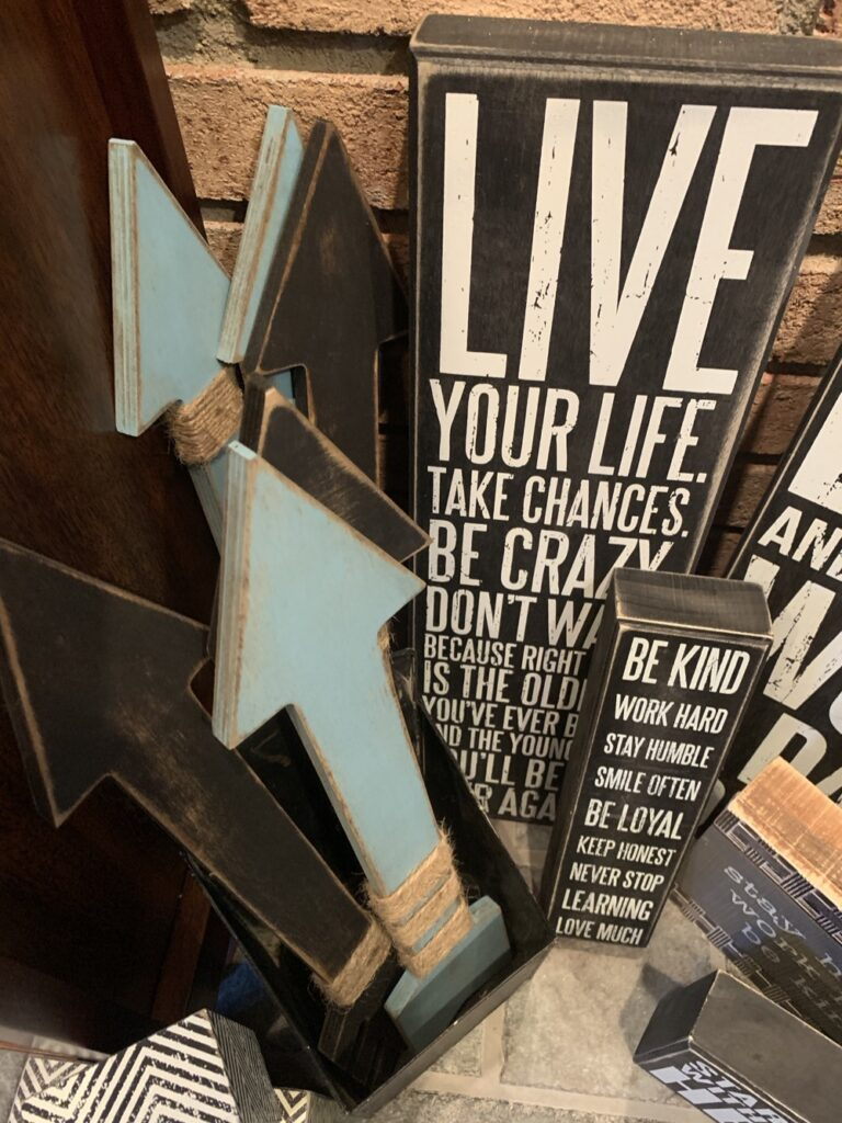 inspirational wood signs and wooden arrow wall decor