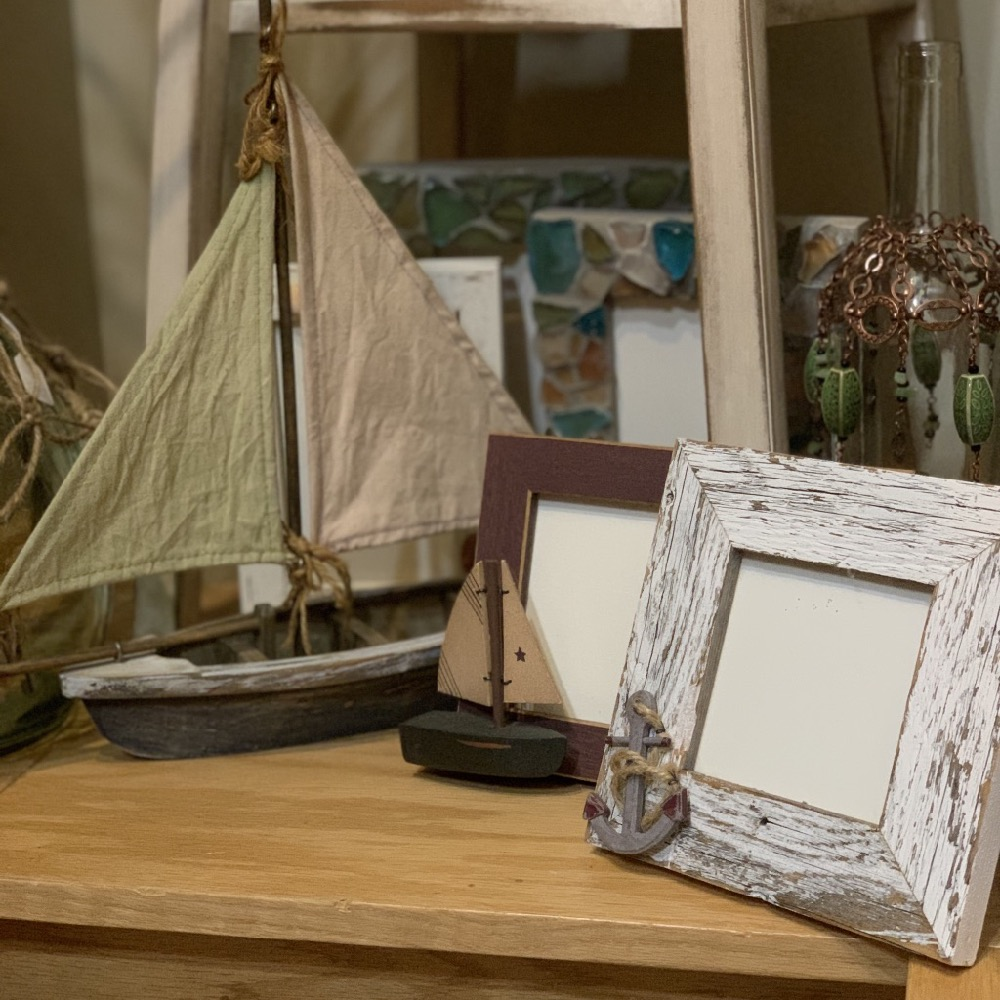nautical decorations and photo frames