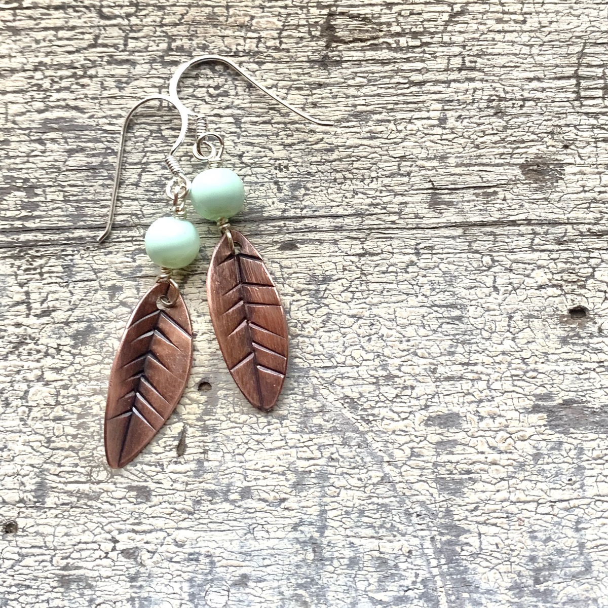 Copper Leaf Earrings by Sincerely Sarah Jewelry