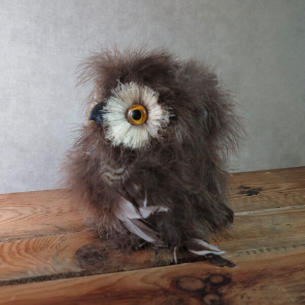 brown feather owl home decor side