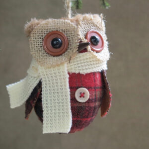 fabric owl ornament with white scarf