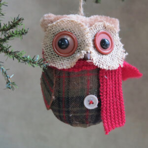 fabric owl ornament with red scarf