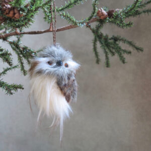 furry feathery natural owl ornament