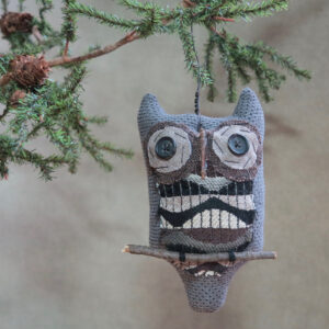 grey primitive owl ornament