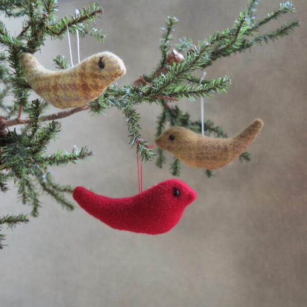 handmade by patrice wool bird ornaments 2