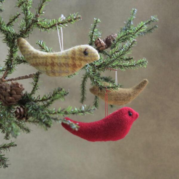 handmade by patrice wool bird ornaments