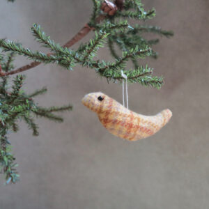 handmade by patrice yellow and red plaid wool bird ornament