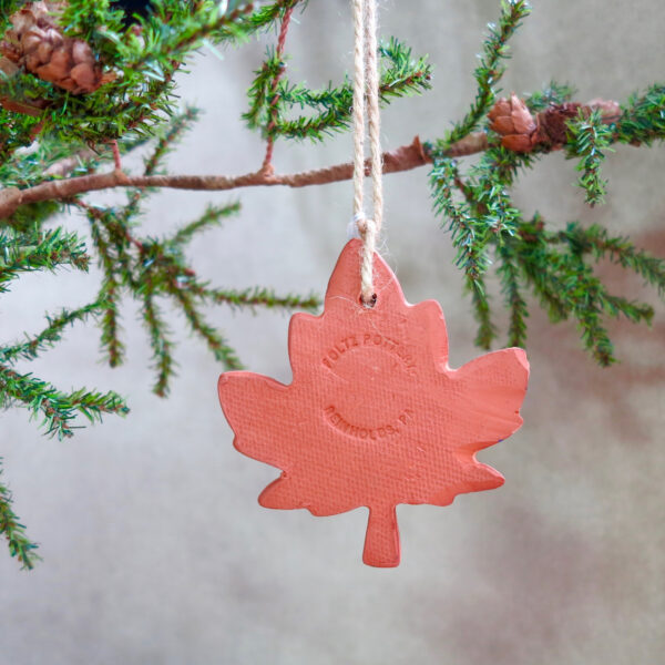 maple leaf redware ornament back