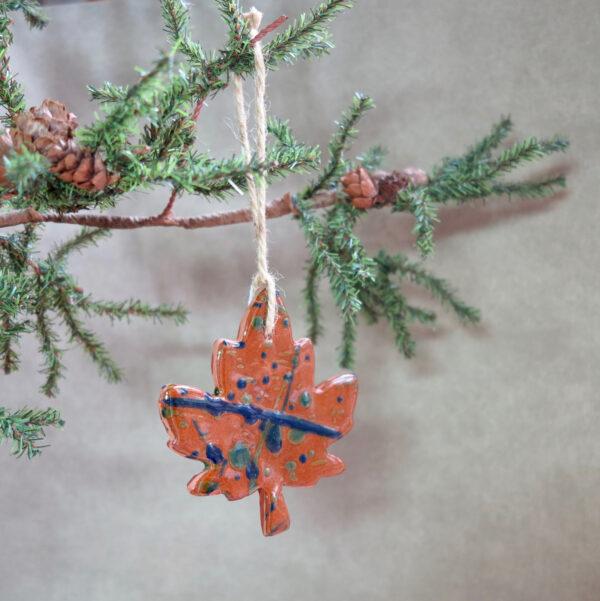 maple leaf redware ornament front