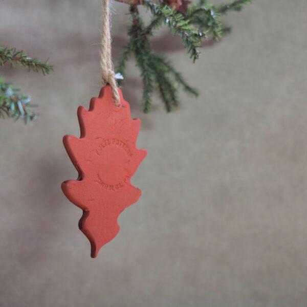 oak leaf redware ornament back