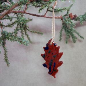 oak leaf redware ornament front