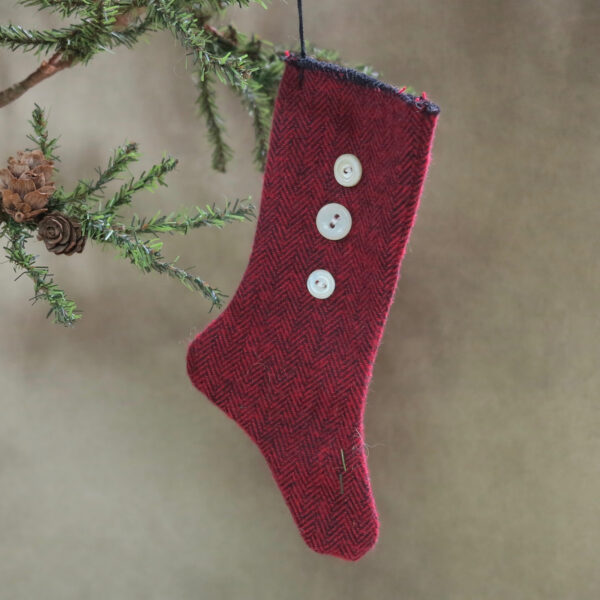 primitive red stocking with white vintage buttons