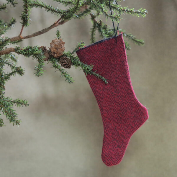 primitive red stocking with white vintage buttons back