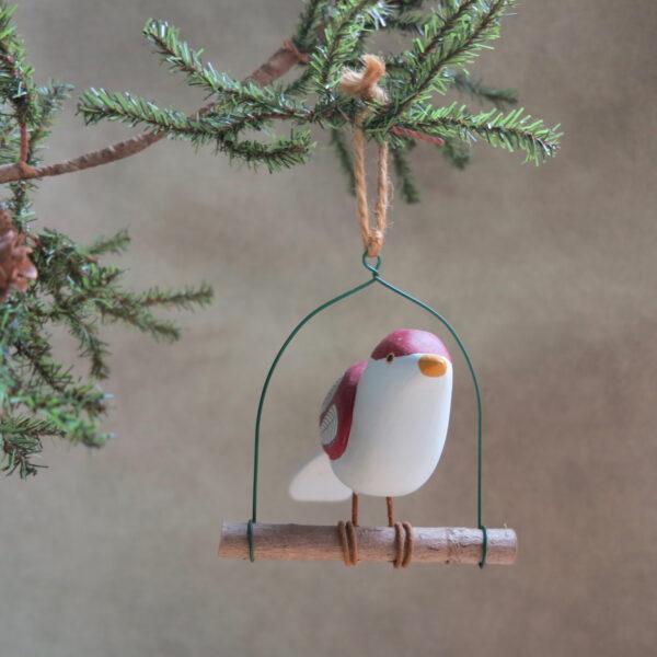 red and white folk art bird hand painted