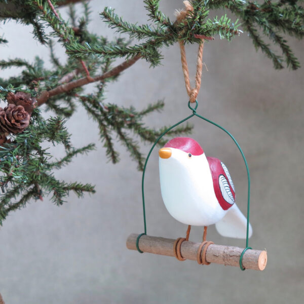 red and white folk art bird hand painted side