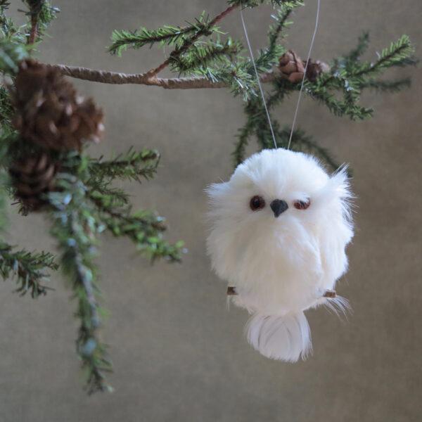 white snowy owl ornament front perch