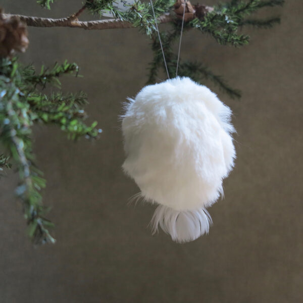 white snowy owl ornament front perch back
