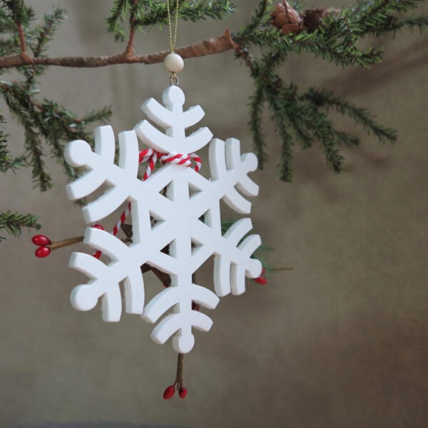 wood snowflake ornament back