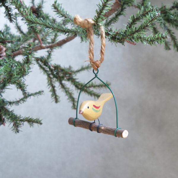 yellow hand painted folk art bird side