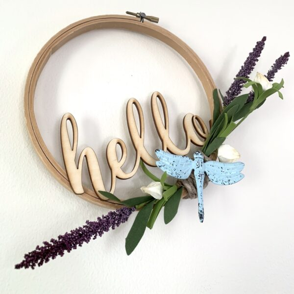 embroidery hoop hello sign with dragonfly and lavender sprigs