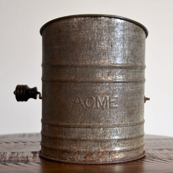 Antique Metal ACME Flour Sifter Front
