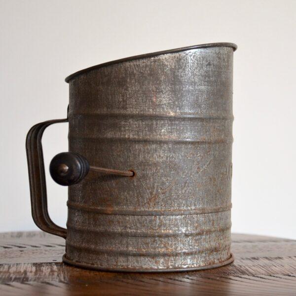 Antique Metal ACME Flour Sifter Side